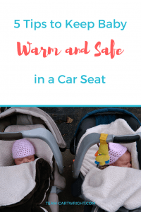 We all want to keep our kids safe in their car seats. But what do you do in winter when jackets aren't safe under straps? I have 5 tips to keep baby warm and safe in a car seat. #carseat #safety #baby #winter #toddler