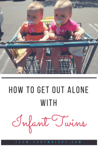 Tips to go out alone with your infant twins. It can be intimidating to take two babies out in public, but you can do it. Soon it will be your new normal. #twins #newborn #infant #errands #mom #tips Team-Cartwright.com