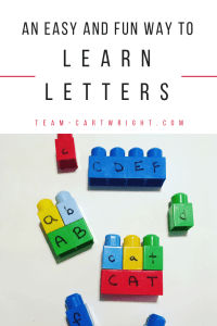 Help your children learn letters with this easy and fun game! Grab a dry erase marker and some Mega Bloks or Duplos and you are ready to learn! #learning #activity #alphabet #letters #toddler #preschool #blocks #DIY #homeschool Team-Cartwright.com