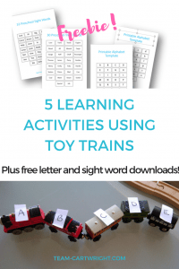5 learning activities using toy trains.#toy #trains #learning #activity #numbers #sight #words #counting #math