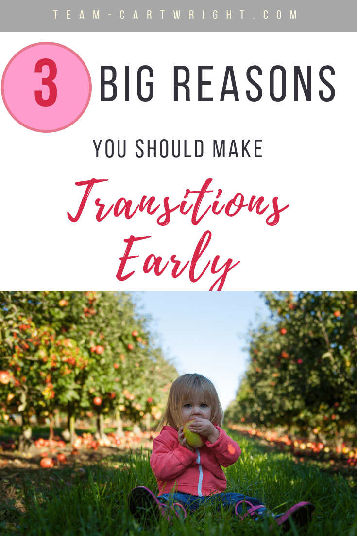 Making big changes is exciting and a little scary.  Switching out of the crib, potty training, these are big deals! Sometimes getting through them early works best.  Here are 3 awesome reasons to make big transitions early. #Transitions #Toddler #CribToBed #PottyTraining #Milestones #OneYearOld #TwoYearOld #ChildhoodChanges #Babywise #MomsOnCall Team-Cartwright.com
