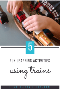 Easy learning activities using trains! Practice counting, basic math, and letter skills using trains. Keep your child's focus and have fun while they learn. (Plus free printables to help!) #learning #activity #preschool #counting #letters #homeschool Team-Cartwright.com