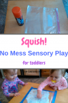 No Mess Sensory Play for Toddlers. Easy science project for kids. Learn about how matter can change. Sensory Play | STEM project | Toddler Activity #sensoryplay #stemproject #science #toddler #preschooler #easyactivity #homeschool Team-Cartwright.com