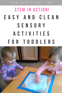 Easy and clean sensory STEM activities for toddlers and preschoolers. Let your kids explore and learn, but don't make a big mess you just have to clean up. Here are learning activities that do just that. #learning #sensory #STEM #activities #toddler #preschool #clean #easy Team-Cartwright.com