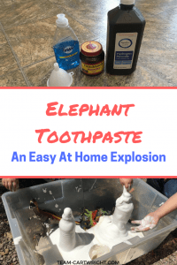 Looking for an easy sensory science project to really wow your kids? Try elephant toothpaste. Easy, fun, and safe to play with. This fast eruption will impress your children and grab their attention. Plus they will love digging their hands into the foam! STEM with kids | Preschool Learning Activity | Easy Science Projects #STEM #scienceproject #science #easy #safe #preschool #toddler #learningactivity #sensoryactivity Team-Cartwright.com