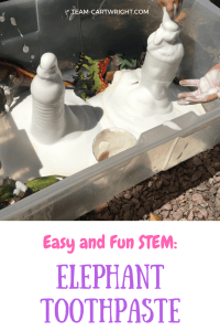 Elephant toothpaste is a must do STEM activity for kids of all ages! Easy, fun, and safe to play with. This fast eruption will impress your children and grab their attention. Plus they will love digging their hands into the foam! STEM with kids | Preschool Learning Activity | Easy Science Projects #STEM #scienceproject #easy #safe #science #preschool #toddler #learningactivity #sensoryactivity Team-Cartwright.com