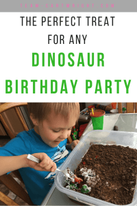 Looking for the perfect treat for a Dinosaur Birthday Party? This is it. Create a real dino dig for your little ones to excavate dinosaurs! Then they can eat the tastiness. Perfect for 3-year-olds, 4-year-olds, 5-year-olds, and up! #birthday #party #dinosaur #cake #treat #activity #toddler #preschool #kids Team-Cartwright.com