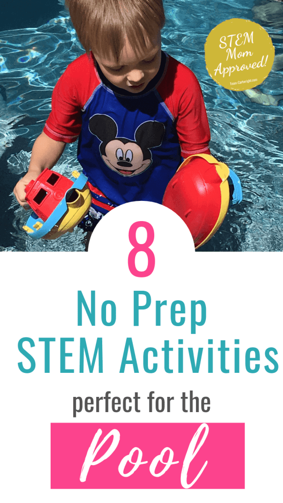 picture of a child in a pool with text: 8 No Prep STEM Activities perfect for the Pool