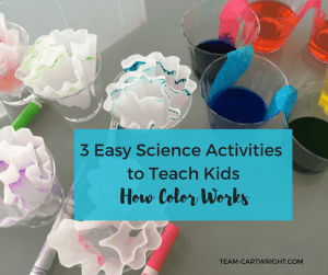 3 Easy STEM activities to teach your kids how colors work. Learn about mixing, wavelengths, and scattering. Plus perform at home chromatography! #artandscience #STEAMproject #sciencefairideas #sciencefairproject #toddlerscience #preschoolscience #toddlerSTEAM #preschoolSTEAM #kidcraft #colorscience #homeschoolscience Team-Cartwright.com