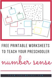 Free printable worksheets to teach number sense! Join our team and get access to these great worksheets. Fun and easy math games for your preschooler! #number #sense #math #preschool #counting #addition #printable #toddler #subtraction #learning #activity Team-Cartwright.com