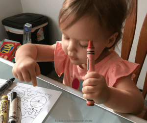 Learn the hidden benefits of coloring. This simple low cost activity is one the best things your child can do. Plus free coloring pages! #coloring #printables #learning #activity #development #toddler #preschool #kid Team-Cartwright.com