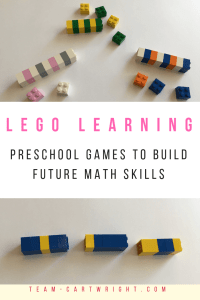 Easy and fun Lego games to build math and reading skills in your preschooler! Counting, patterns, colors, and more! #lego #legolearning #learning #learninggame #counting #colors #patterns #toddleractivities #preschoolactivities Team-Cartwright.com