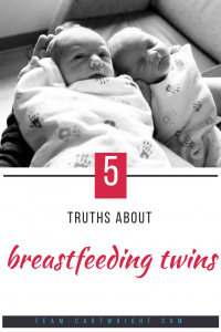5 Truths about breastfeeding twins. Want to know what it is really like to breastfeed twins? Here it is, from a mom who breastfed her twins for 15 months. #breastfeeding #twins #mom #tips #tricks Team-Cartwright.com
