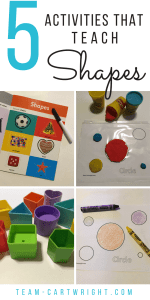 5 easy and fun activities to help toddlers and preschoolers learn shapes. Get free coloring pages and Play-Doh mats to help your child learn. And learn why shapes are so valuable to literacy and math skills. #shapes #learning #activity #toddler #preschool #homeschool #printable Team-Cartwright.com