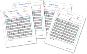 Twin Tacking Worksheets. Free printables to help keep track of twin feedings, diapers, and sleep. #twin #newborn #breastfeeding #sleep #nap #diaper #baby Team-Cartwright.com