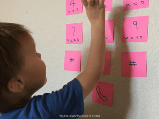 An easy and fun way to teach your child to call 911. Learn cell phone safety and work on learning their phone number. Easy and fun! #learning #activity #911 #emergency #kids #safety #toddler #preschool #phone Team-Cartwright.com