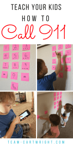 How to teach your kid to call 911. No landline? No problem. Teach your child cell phone safety and how to call 911. This is an easy and fun learning activity for teaching safety. #safety #911 #emergency #learning #activity #kids #toddler #phone #preschool Team-Cartwright.com
