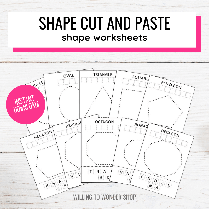 Text: Shape Cut and Paste Shape Worksheets Instant Download. Picture: 10 shape printables for preschool