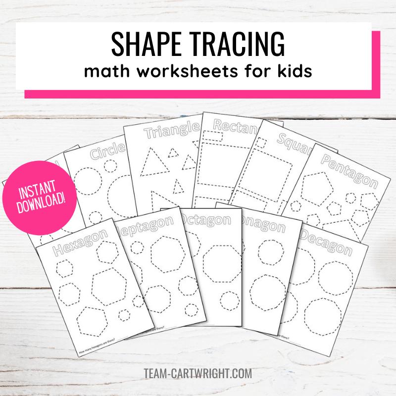 Text: Shape Tracing Math Worksheets for Kids Instant Download. Picture: 11 shape tracing worksheets for preschool