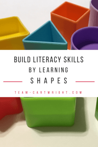 Why learning shapes is so valuable for toddlers and preschoolers. Shapes are the building blocks for literacy and math skills. Plus get some free printables to help your children learn and have fun! #shapes #learning #activity #development #toddler #preschooler #free #printable Team-Cartwright.com