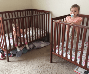 Twin Toddlers climbing out of their cribs? No thank you! You can keep them there. Here are the steps to take to keep your toddlers in their cribs longer. #toddler #twins #crib #climbing #discipline #sleep #bed Team-Cartwright.com