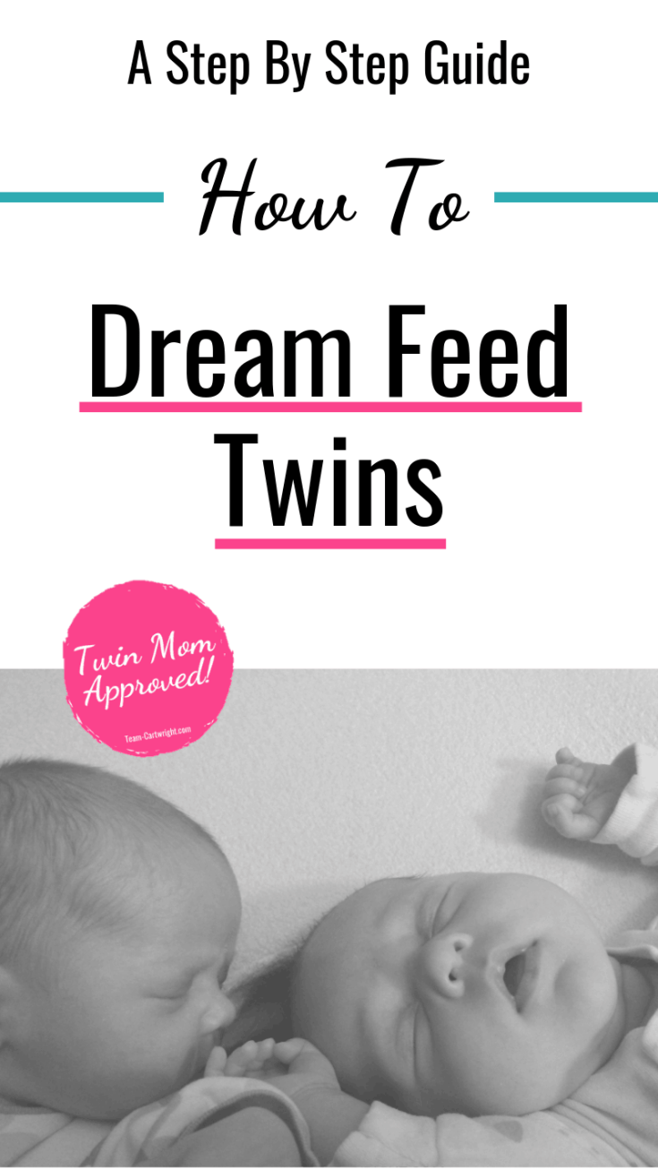 How to dream feed twins. Learn what the dream feed is, how to schedule it, and how to best get it done with twins.  Breastfeeding twins doesn't mean you will never sleep.  The dream feed will help you get more rest, Mama. #breastfeeding #breastfeedingtwins #dreamfeed #babyschedules #babywise #twins #twinmomtips Team-Cartwright.com