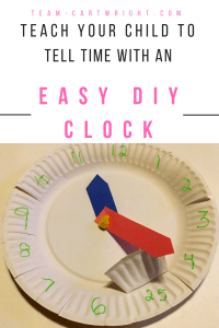 Looking for an easy way to help your child learn how to tell time? Try making this simple clock at home! You just need a couple of paper plates, a pipe cleaner, and some colored paper. Easy, fun, and a great way to teach kids about telling time. #clock #learning #activity #time #preschool #kids #DIY #craft #art Team-Cartwright.com
