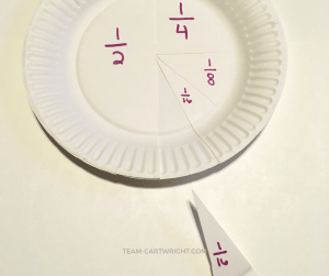 Use paper plates to teach your child fractions! Give a great visual representation of fractions and create a fun puzzle using paper plates. #fractions #paper #plate #learning #activity #toddler #preschool #math Team-Cartwright.com