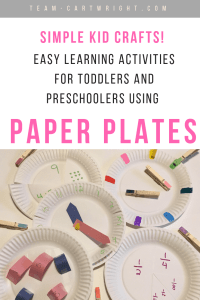 Teach your kids about numbers, colors, math, fractions, and more with just paper plates! Oh, and learn to tell time. Easy and fun learning activities for toddlers and preschoolers. #toddler #preschool #learning #activity #math #numbers #counting #time #colors Team-Cartwright.com
