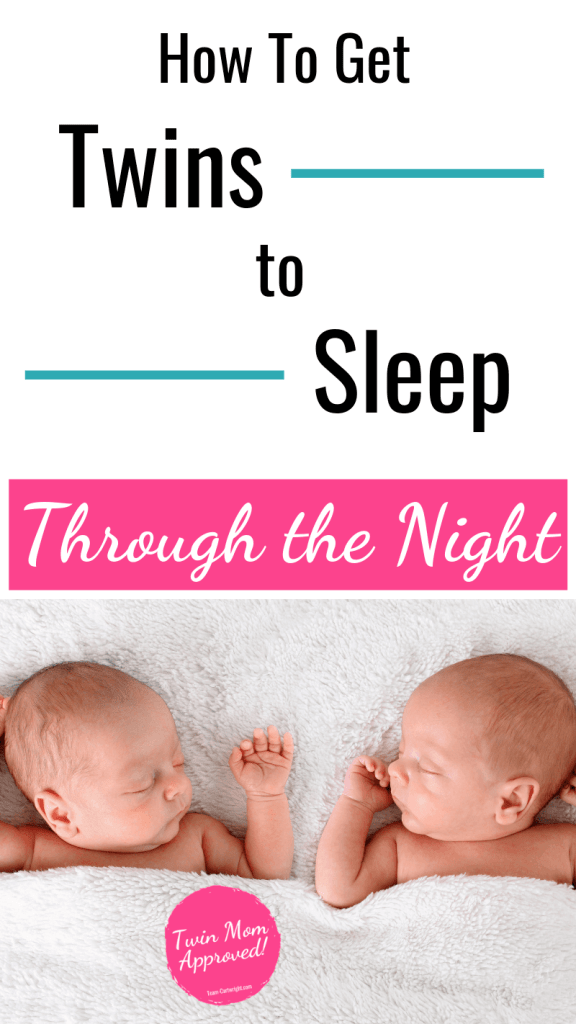 picture of twins sleeping with text: How To Get Twins to Sleep Through the Night