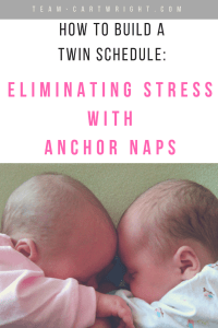 Trying to get twins on a schedule can be hard. A great way to help is to focus on your anchor naps. Learn what these are and how they can help you and your twins get the rest they need. #twins #newborntwins #twintips #sleeptips #sleep #naps #schedule #babywise #babywiseschedule #anchornaps Team-Cartwright.com