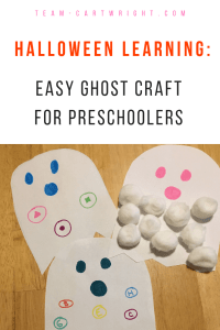 Create a fun and easy ghost and learn at the same time! Halloween learning activities for preschoolers and toddlers. Work numbers, letters, shapes, and more! Low prep and lots of learning. #learning #craft #activity #numbers #letters #shapes #preschooler #toddler #kids #educational #Halloween #ghost Team-Cartwright.com