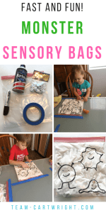Fast and Fun Sensory Learning Activity! Make monster sensory bags to entertain your toddler and preschoolers while they learn and work on fine motor skills. #sensoryactivity #sensorybag #learningactivity #finemotorskills #toddler #preschooler Team-Cartwright.com