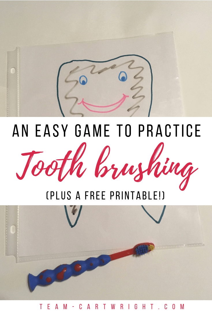 Want an easy and fun way to work on tooth brushing with your kids? Grab this free printable and play this game at home!  Practice brushing your teeth without a battle and learn about oral hygiene!  #ToothBrushing #ToddlerTeeth #BrushingTeeth #FreePrintable #OralHygiene #ToddlerToothBrushing Team-Cartwright.com
