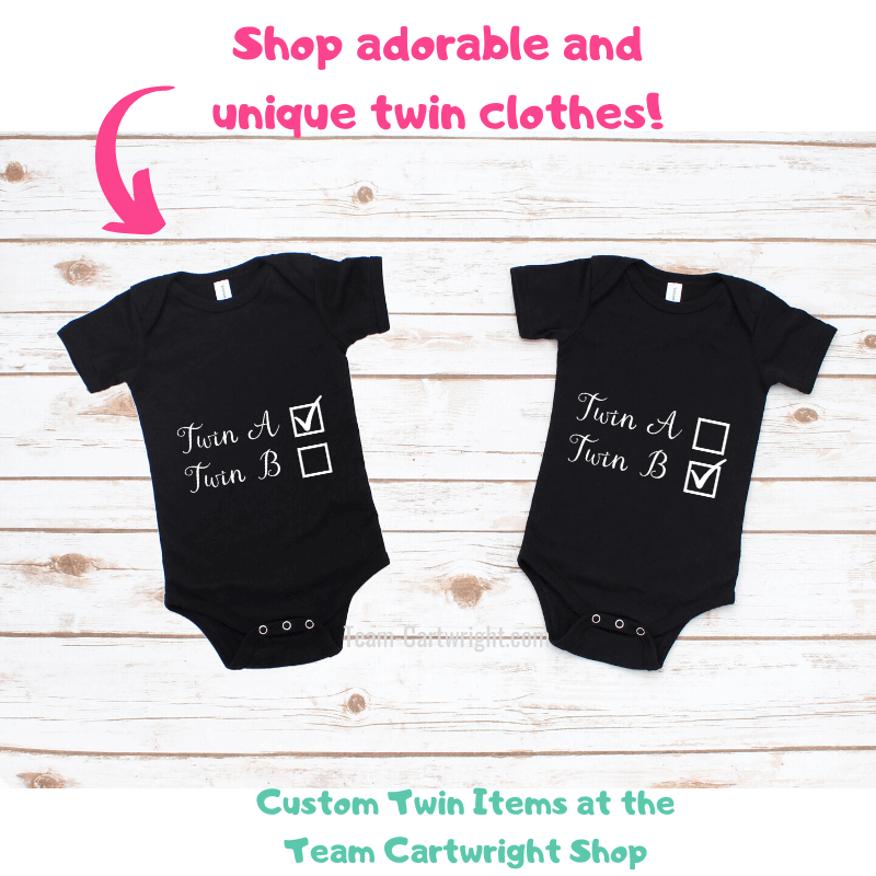 Shop adorable and unique twin clothes at the Team Cartwright Shop with picture of two twin onesies Twin A and Twin B Checkbox