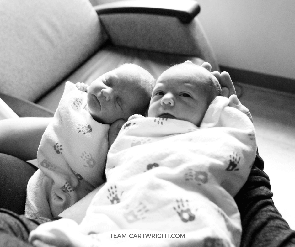Life with newborn twins is busy, exciting, scary, hard, and amazing. Learn what is in store for you with your newborn twins. #newbornTwins #Twins Team-Cartwright.com