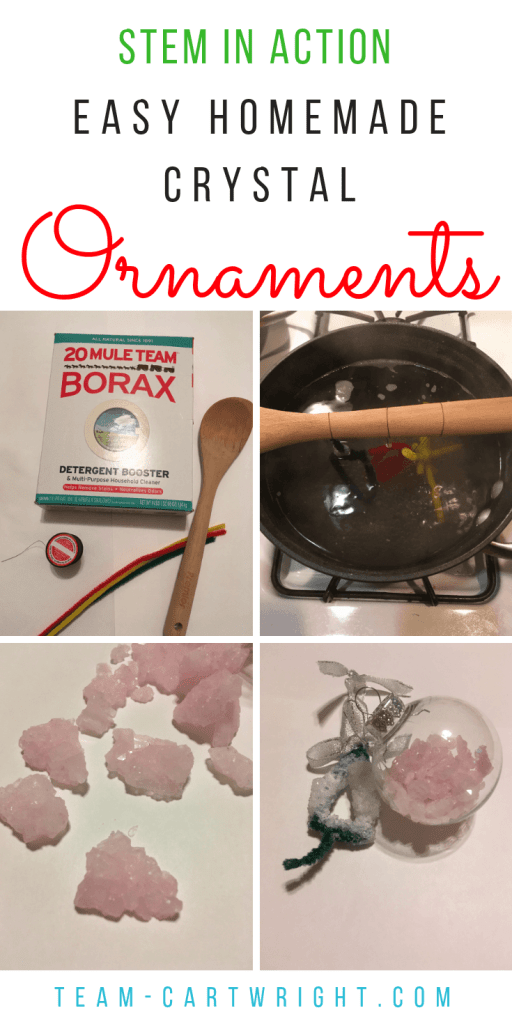 Homemade crystal ornaments: How to make easy and fun Christmas tree ornaments out of crystals! Create a family tradition out of an awesome learning activity. #learningactivity #crystals #christmasactivity #christmasscience #ornaments #homemadeornaments #familytradition #toddler #preschooler #kids Team-Cartwright.com