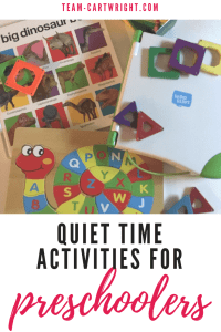 Quiet time activities for preschoolers. Ideas for what your child can do while having quiet rest time. #quiet #time #activities #learninggames #preschooler #preschoolbooks #quiettime Team-Cartwright.com