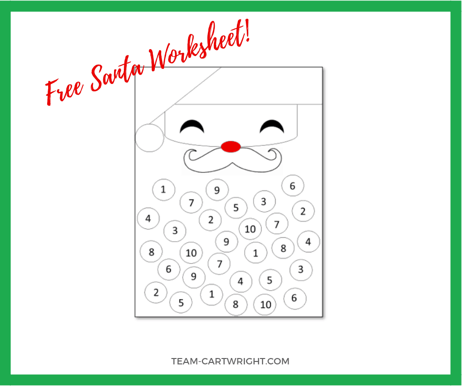 Free Number Sense Santa Worksheet! Work on number sense, counting, and basic math with your toddler and preschool with this holiday STEM fun! #christmascraft #christmasSTEM #mathgames #freeprintable #learningactivity #santa #numbersense #mathgames Team-Cartwright.com