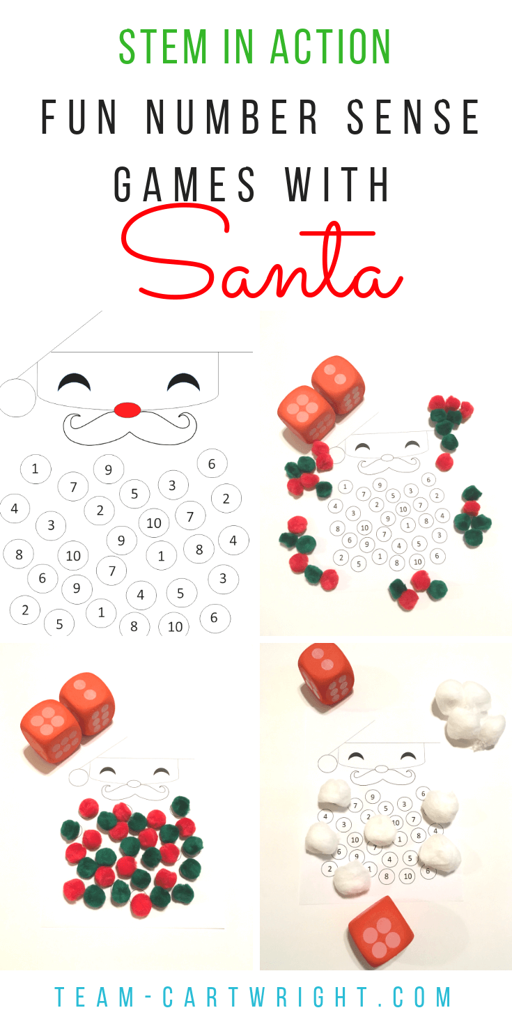 Santa math fun! Work on counting and number sense with your toddler and preschooler with this fun free printable! Easy math games and an easy Christmas art project, all in one! #learningactivity #christmascraft #christmasSTEM #santa #freeprintable #numbersense #counting #toddler #preschool Team-Cartwright.com