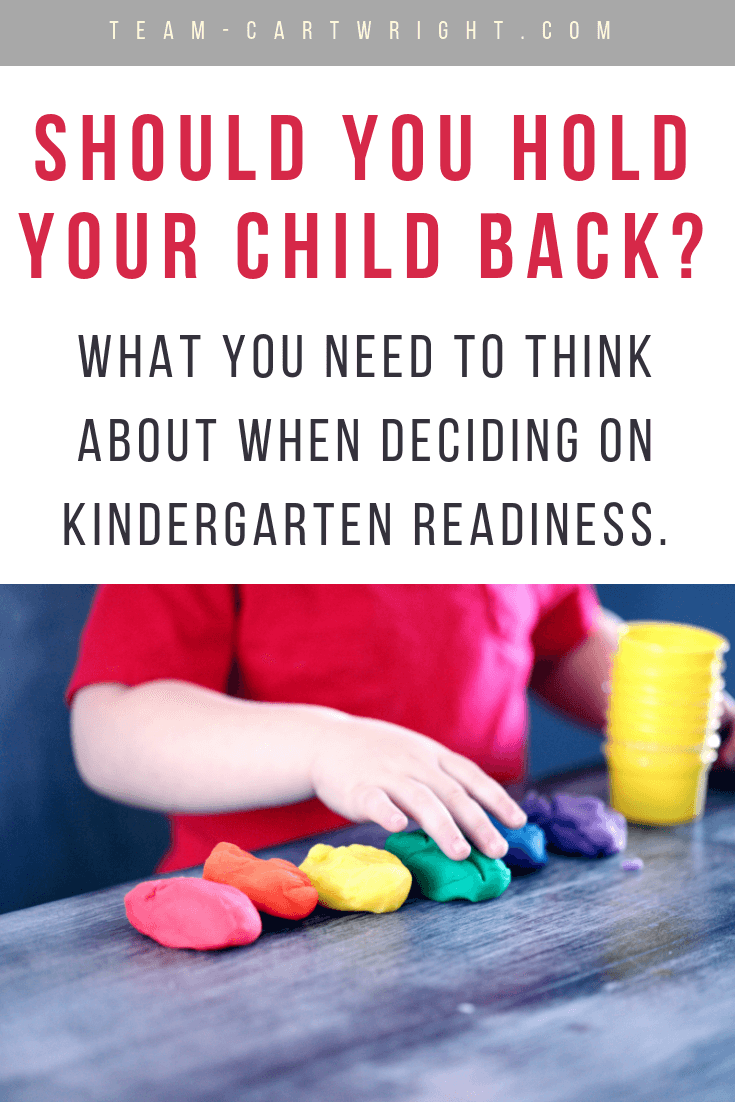 What are the pros and cons of starting kindergarten late? Should you start your child at 6 years old? How to decide if you should start your kids at 5 or wait another year. #RedshirtingKindergarten #KindergartenReadiness #EmotionalDevelopment #Kindergarten #Preschool #child Team-Cartwright.com