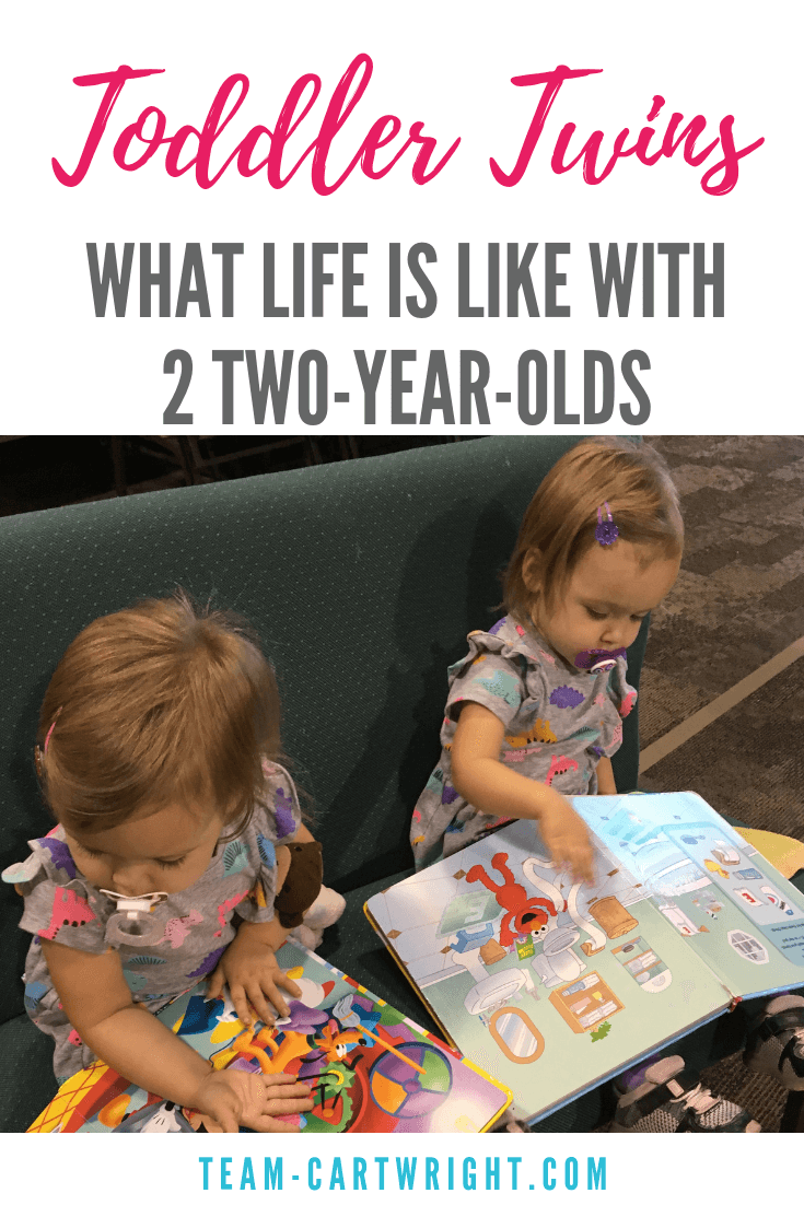 Wondering what you have in store for you when your twins turn 2? It will be fun, trying, loud, silly, and more. Two-year-old twins bring challenges, but they bring even more joy. #ToddlerTwins #TwoYearOldTwins #TwinPottyTraining #TwinTantrums #TwinLife #TwinMom #RaisingTwins Team-Cartwright.com