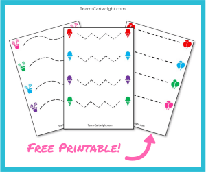 Free printable cutting worksheets! Work scissor skills with your preschooler with these easy and fun printables. #ScissorSkills #CuttingWorksheet #FreePrintable #PreschoolWorksheet #FineMotorSkills Team-Cartwright.com