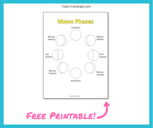 Free printable moon phase worksheet! Help your child color in the phases of the moon. Fun creative space STEM activity! #SpacePrintable #SpaceWorksheet #MoonPrintable #MoonWorksheet #PreschoolScience #MoonPhases #moon Team-Cartwright.com