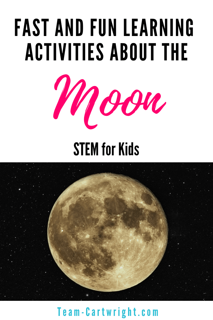 Moon activities for preschoolers! Get easy and fun learning activities for kids all about the moon. How the moon orbits, how the phases of the moon work, and how it got so many craters. Plus a free coloring page to help! #MoonScience #moonSTEM #MoonLearning #PreschoolScience #FreePrintable #MoonPhases #MoonCraters #DIYMoonScience Team-Cartwright.com