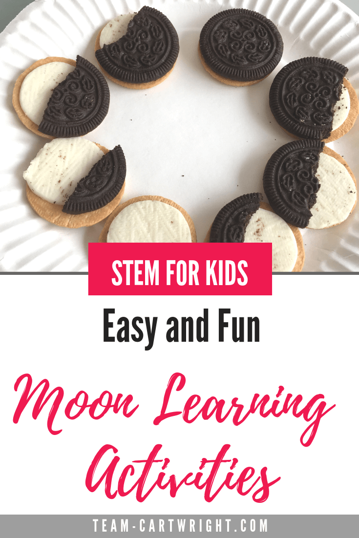 Fast and fun learning activities all about the moon! Learn why we see the phases of the moon, what they are, how the moon orbits, and make your own moon craters! Great STEM activities to get your preschooler interested in astronomy. Explore the solar system! #SpaceSTEM #SpaceScience #FreePrintable #MoonPhases #MoonActivities #MoonScience #PreschoolScience #MoonExperiments Team-Cartwright.com