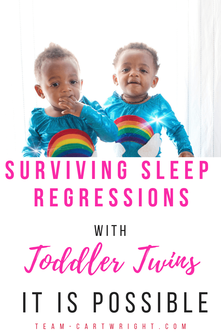 Are your toddler twins suddenly not sleeping? It could be the 2 year sleep regression. While this is normal it is frustrating! Learn why this sleep regression happens, how to help get past it, and how having twins changes things. Save this one to refer back to! #Twins #TwinSleep #2YearSleepRegression #SleepRegression #ToddlerTwins #ToddlerSleep #Babywise #BabywiseTwins Team-Cartwright.com