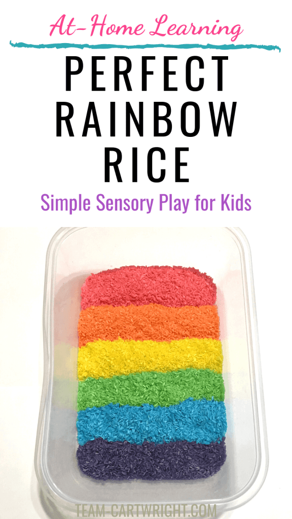 how to make perfect rainbow rice with picture of rainbow rice sensory bin