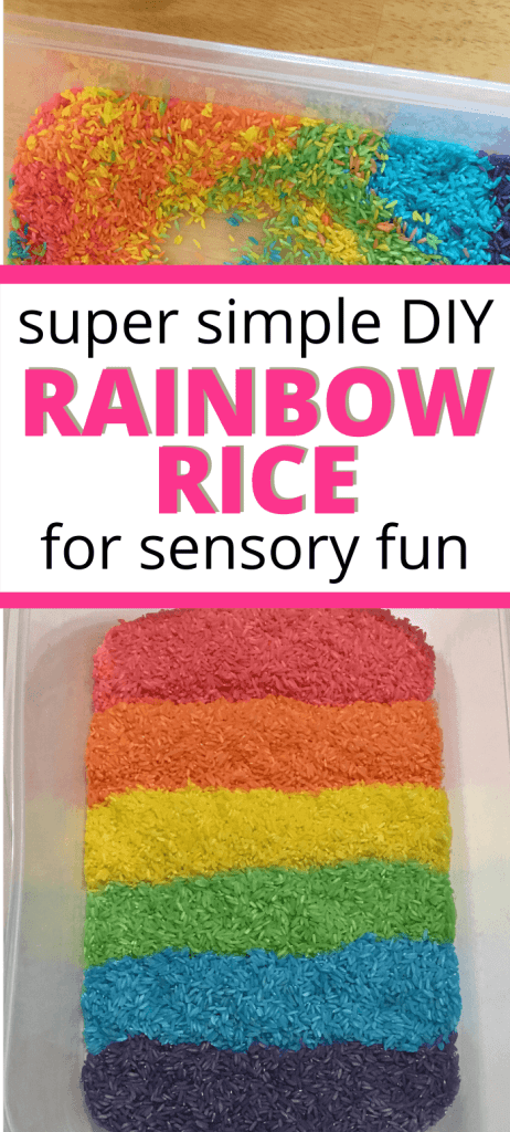 super simple DIY rainbow rice for sensory fun picture of rainbow dyed rice