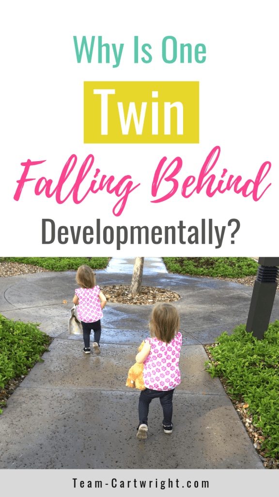 picture of one twin running after the other with text Why Is One Twin Falling Behind Developmentally?